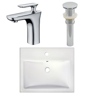 Online Reviews Ceramic Rectangular Vessel Bathroom Sink with Faucet ByAmerican Imaginations