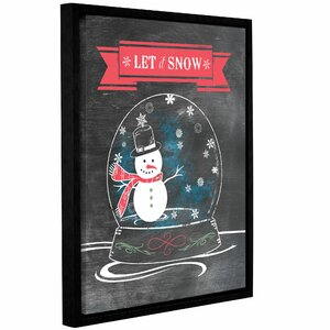 Let it Snow Framed Textual Art on Wrapped Canvas in Red