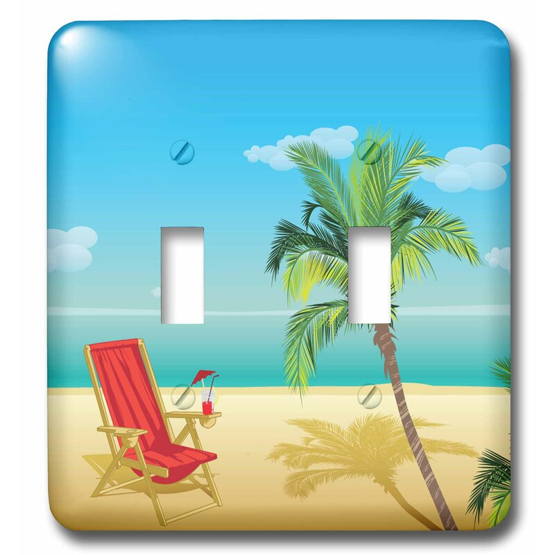 3drose Sandy Beach Scene With Beach Lounger And Umbrella 2 Gang Toggle Light Switch Wall Plate Wayfair
