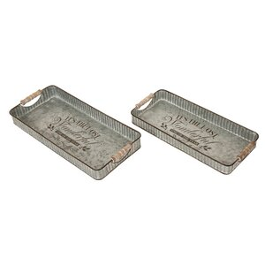 Rinki Iron Galvanized 2 Piece Accent Tray Set