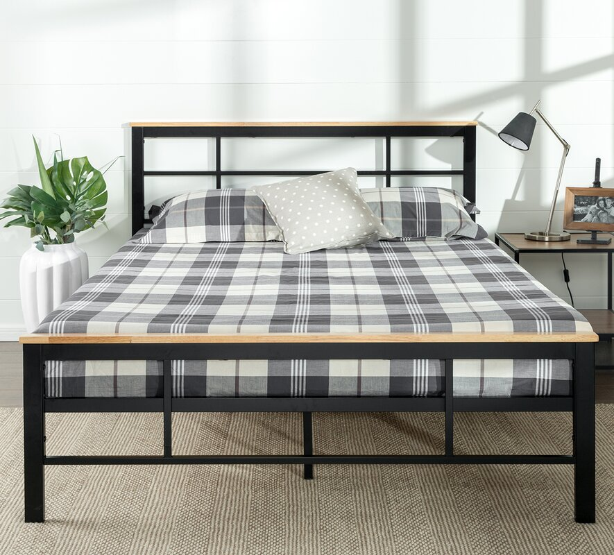 Metal And Wood Bed Frames zinus urban metal/wood platform bed & reviews | wayfair