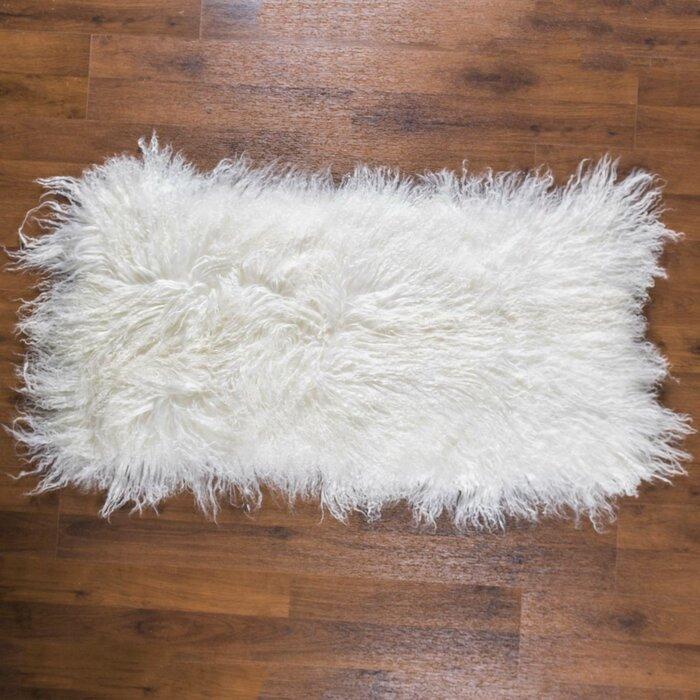 Rowe Curly Hair Sheepskin Hand Woven White Rug