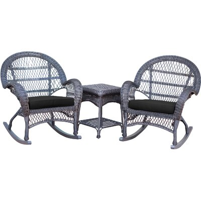 3-Piece Lalani Patio Seating Group Fabric: Black, Frame Color: Honey by August Grove