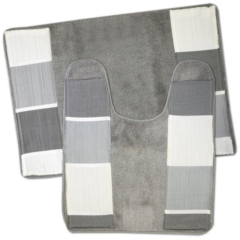 Microfiber 2 Pieces Bathroom Bath Rug Pedestal Mat Set Black Beige Floral Patter