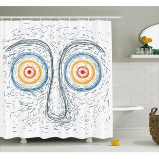Amber Confused Man Portrait Human Face With Hypnotic Eyes Dizzy Trance Hand Drawn Style Single Shower Curtain