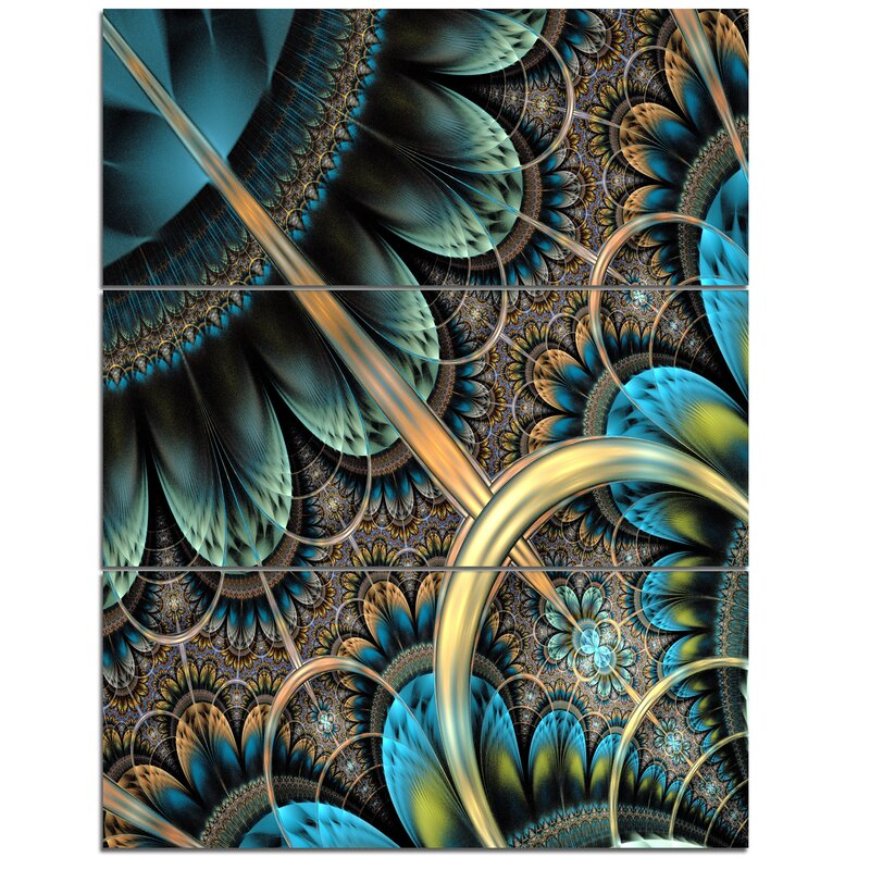 Designart Large Blue Brown Fractal Floral Pattern 3 Piece Graphic Art On Wrapped Canvas Set Wayfair