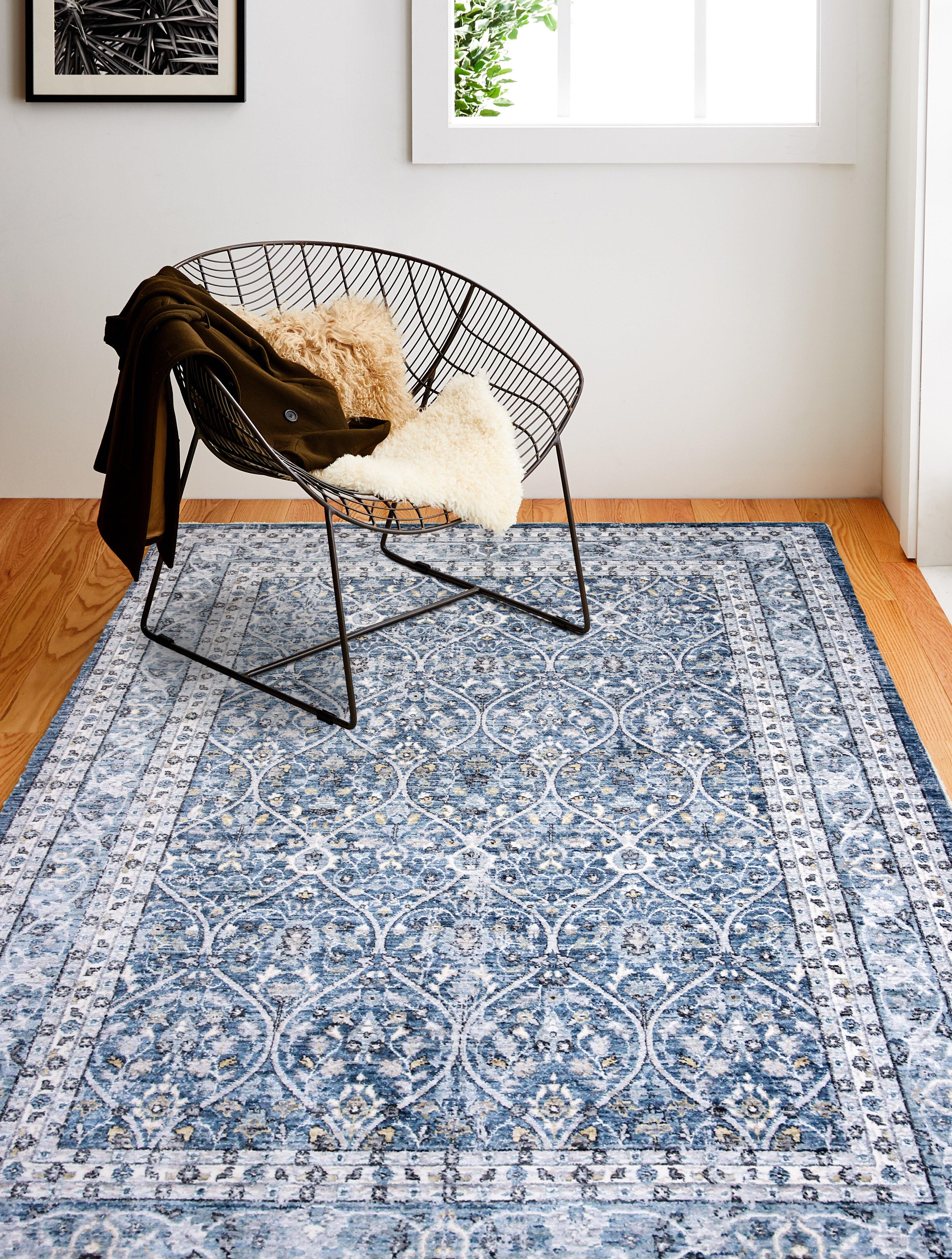 World Menagerie Kachazun Floral Blue Area Rug Reviews Wayfair