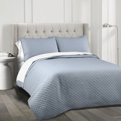 The Twillery Co. Shuler 3 Piece Quilt Set Color: Blue, Size: Full/Queen