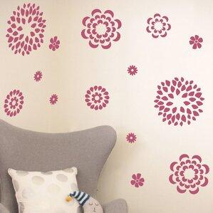 flower pattern wall decal set black