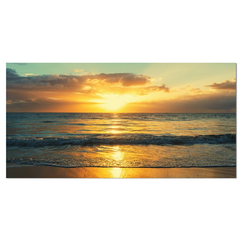 Designart Exotic Water And Sky Sunset Panorama Photographic Print On Wrapped Canvas Wayfair Ca