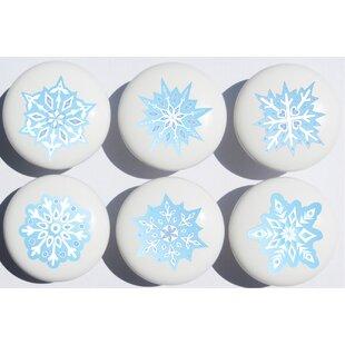 Hand-painted Blue Snow Flakes Mushroom Knob (Set of 6)