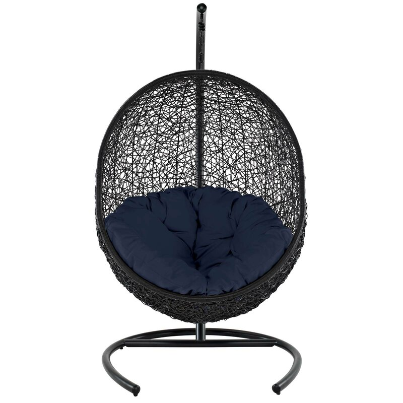 Bungalow Rose  Herculaneum Encase Swing Chair with Stand Color: Navy