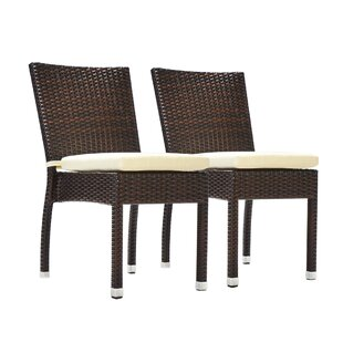Genao Stacking Patio Dining Chair With Cushion (Set Of 2) by Wrought Studio Modern
