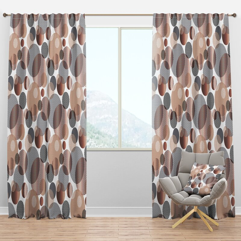 Designart Mid Century Circular Xiii Geometric Semi Sheer Thermal Rod Pocket Single Curtain Panel Wayfair