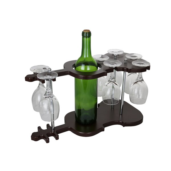 Wine Bos Guitar Shaped Wooden Gl Holder Display 1 Bottle