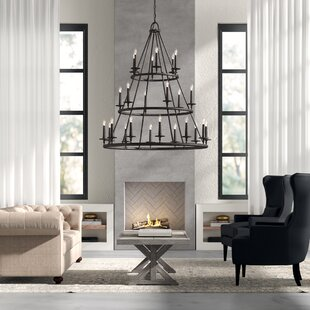 Auxvasse 24-Light Wagon Wheel Chandelier by Greyleigh