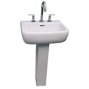 Barclay Metropolitan 600 Vitreous China Rectangular Pedestal Bathroom Sink with Overflow