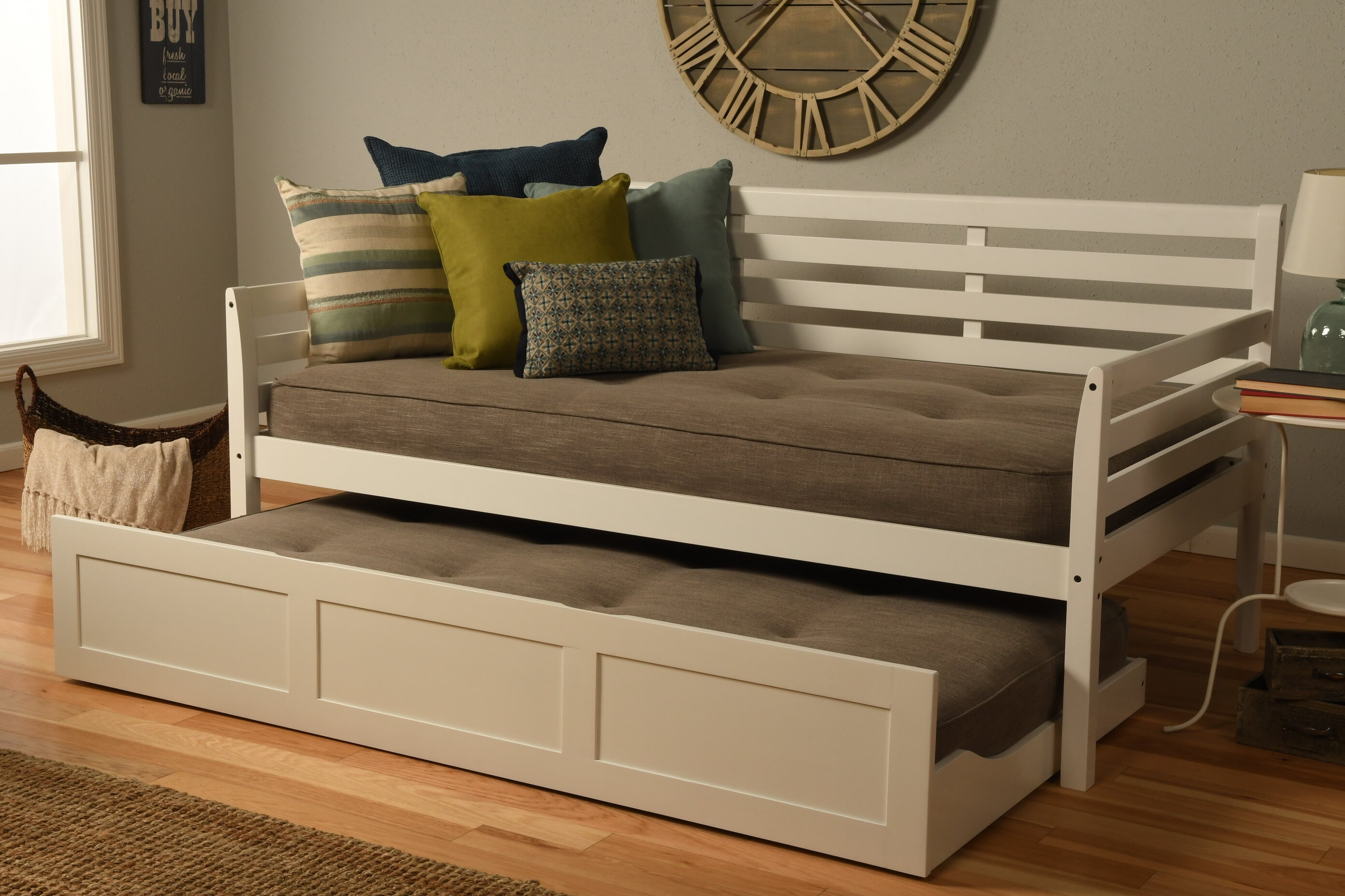 - Red Barrel Studio Haney Twin Solid Wood Daybed With Trundle And