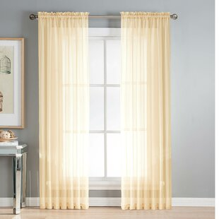 Diamond Solid Sheer Rod Pocket Curtain Panels (Set of 2) by Window Elements