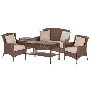 One Allium Way Simoneau Provencal 5 Piece Rattan Sofa Set with Cushions