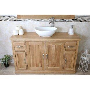 Eckert Solid Oak 123mm Free-Standing Vanity Unit By Gracie Oaks