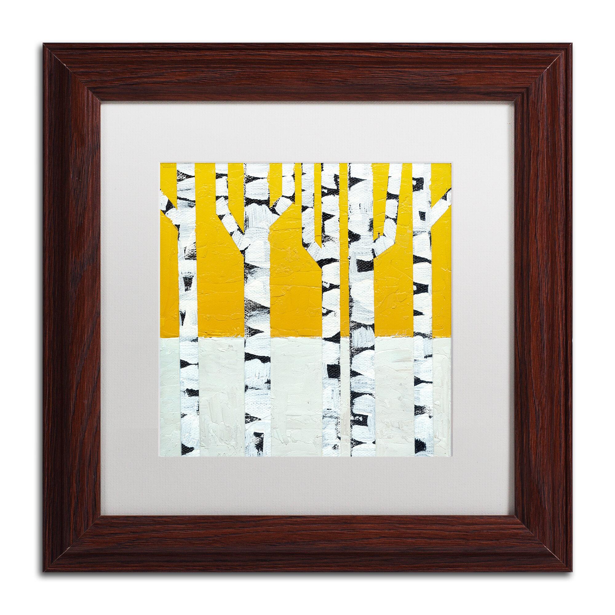 Trademark Art Seasonal Birches Winter By Michelle Calkins Framed Painting Print Wayfair