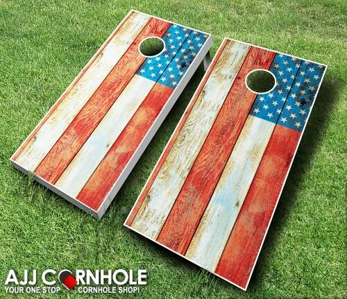 Distressed American Flag Coffee Table: AJJCornhole 10 Piece American Flag Distressed Cornhole Set
