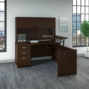 Series C Elite Height Adjustable L-Shaped Standing Desk With Hutch by Bush Business Furniture