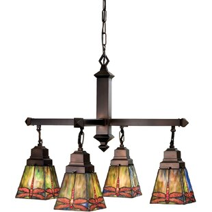 Meyda Tiffany Mission Arts and Crafts Prairie Dragonfly 4-Light Shaded Chandelier