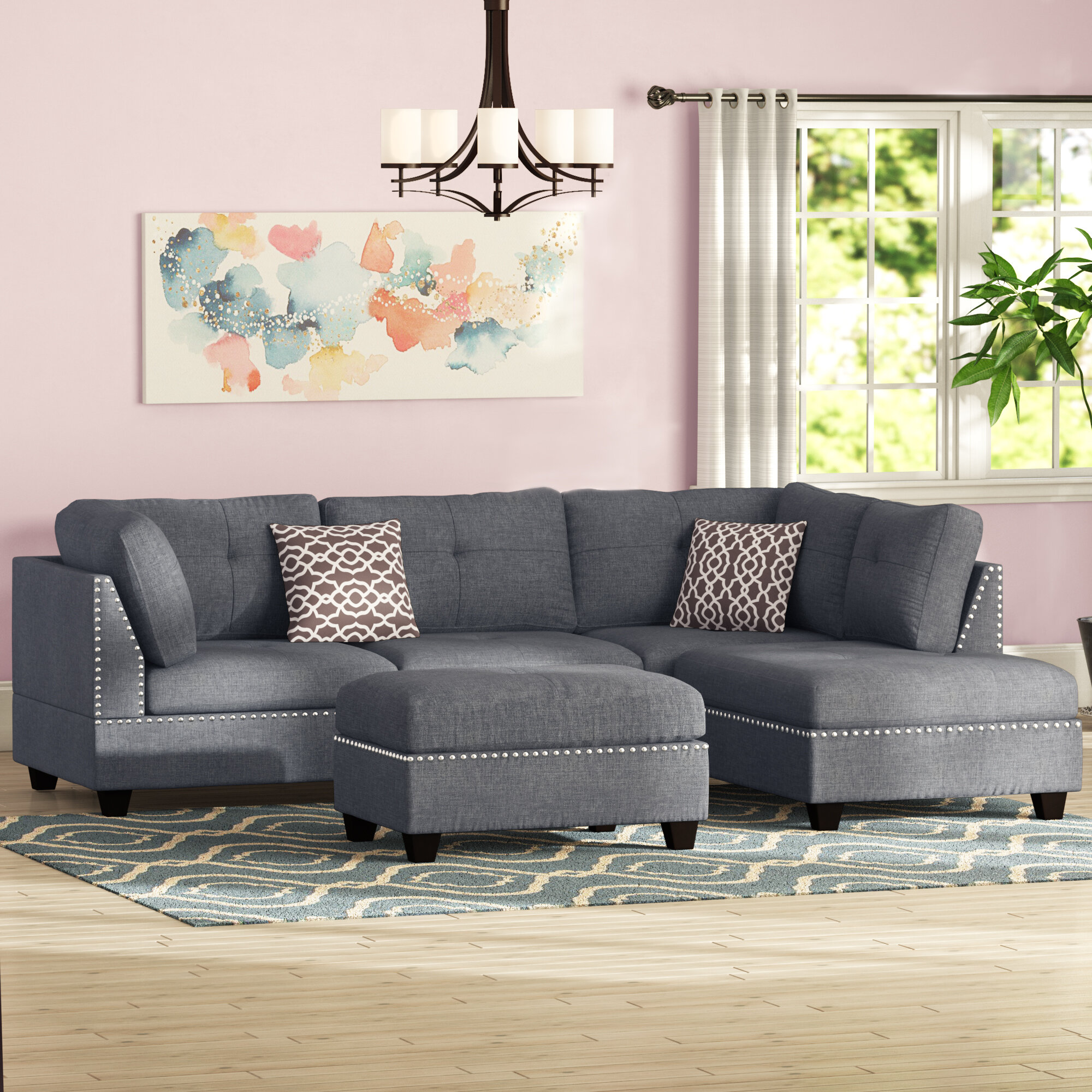 Alcott Hill Charlemont 104 Wide Reversible Sofa Chaise With Ottoman Reviews Wayfair