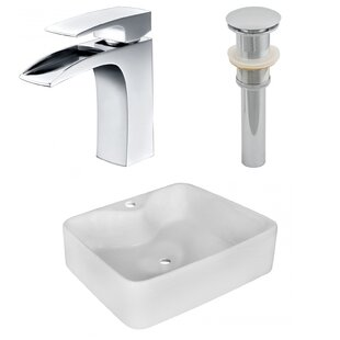 Inexpensive Above Counter Ceramic Rectangular Vessel Bathroom Sink with Faucet ByRoyal Purple Bath Kitchen