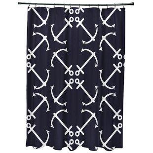Hancock Anchors Up Geometric Print Single Shower Curtain
