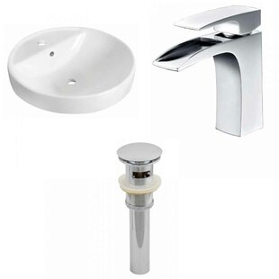 Order Ceramic Circular Drop-In Bathroom Sink with Faucet and Overflow ByRoyal Purple Bath Kitchen