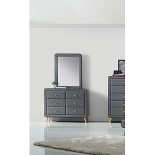 Cleitus 6 Drawer Double Dresser with Mirror by Corrigan Studio