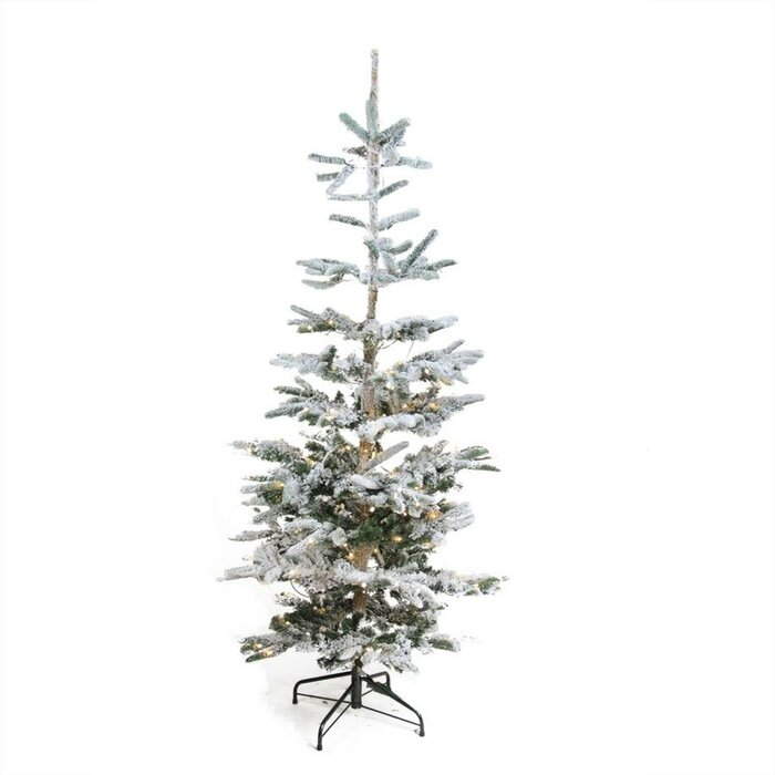 Loon Peak Pre-Lit Noble 6.5' Green Fir Artificial Flocked ...