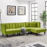 Strickland 106.7 Velvet Reversible Sleeper Sofa & Chaise with Ottoman by George Oliver