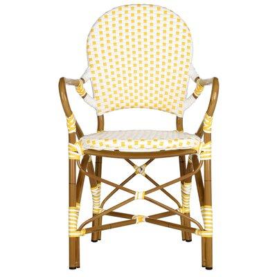 Lark Manor Papke Stacking Patio Dining Chair Fabric Yellow White