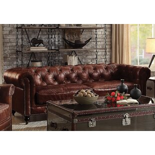 Bavis Leather Sofa Canora Grey