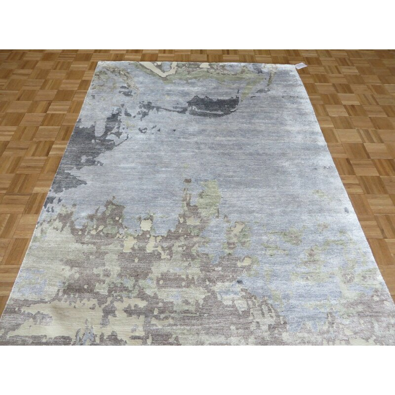 17 Stories Paris Abstract Hand Knotted Wool Sky Blue Area Rug Wayfair