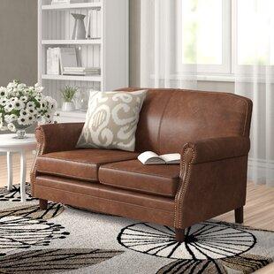 Adlington Genuine Leather 2 Seater Loveseat By Rosalind Wheeler