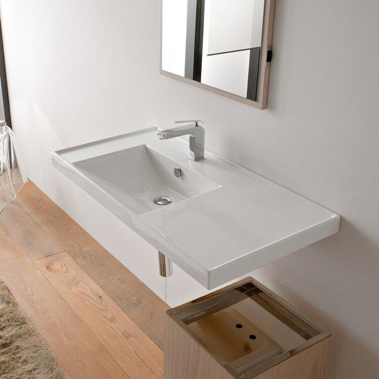 Ml Ceramic Rectangular Drop In Bathroom Sink With Overflow Reviews Allmodern