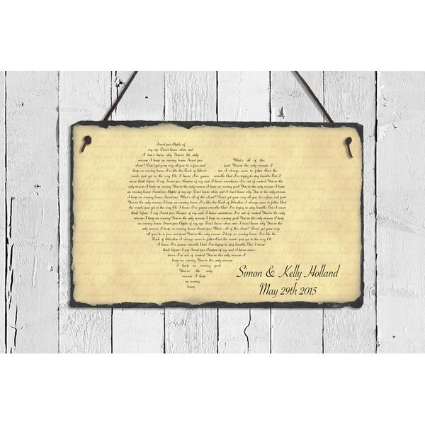 SassySquirrelInk Song Lyrics Slate Heart Plaque Wall Décor & Reviews ...