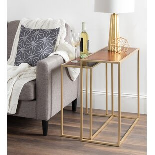 Diboll Metal And Wood 2 Piece Nesting Tables by Kate and Laurel Reviews
