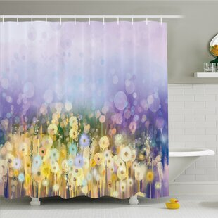 Watercolor Flower Home Chamomile and Dandelion Field Meadow Landscape Idyllic View Shower Curtain Set
