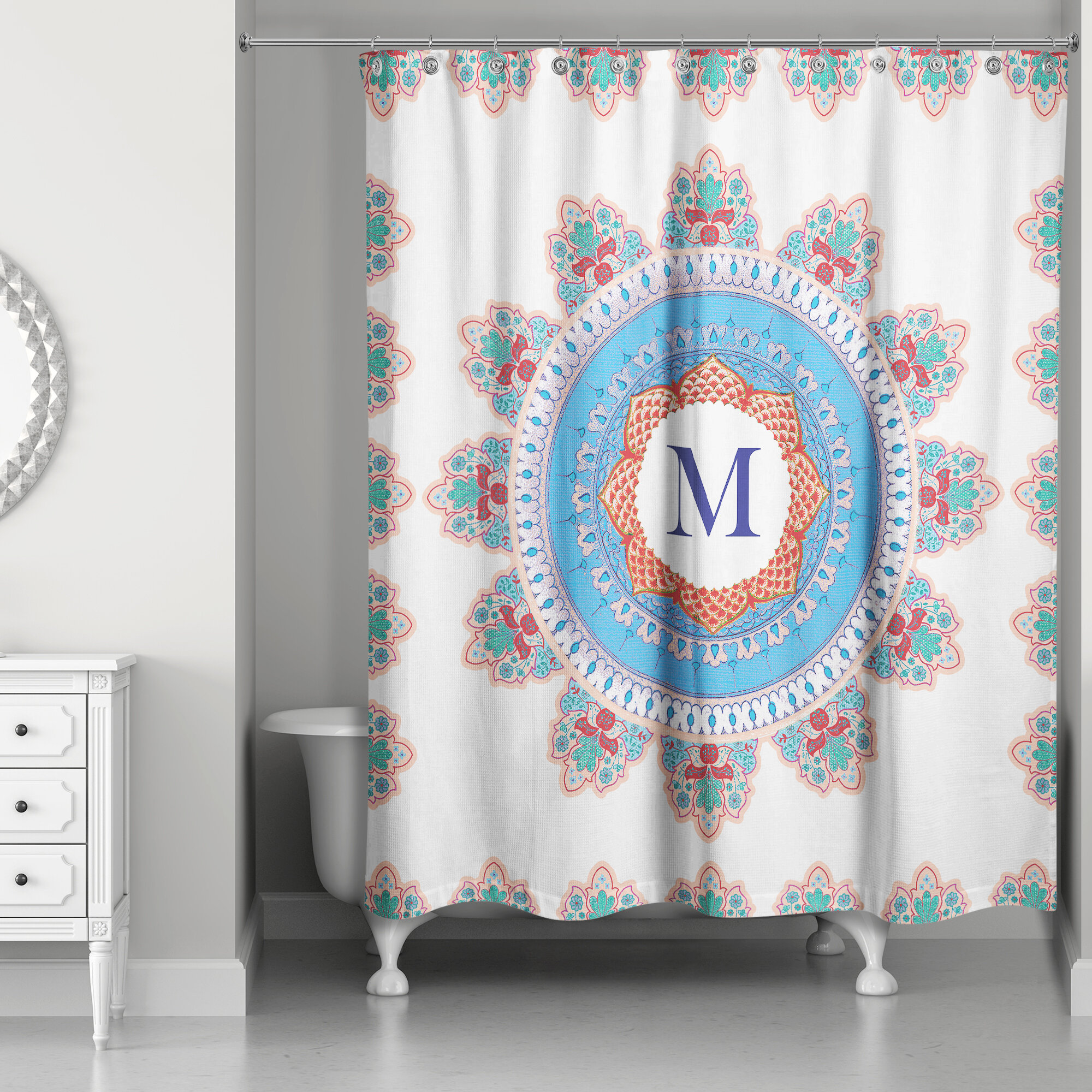 Bungalow Rose Ireland Monogram Medallion Shower Curtain
