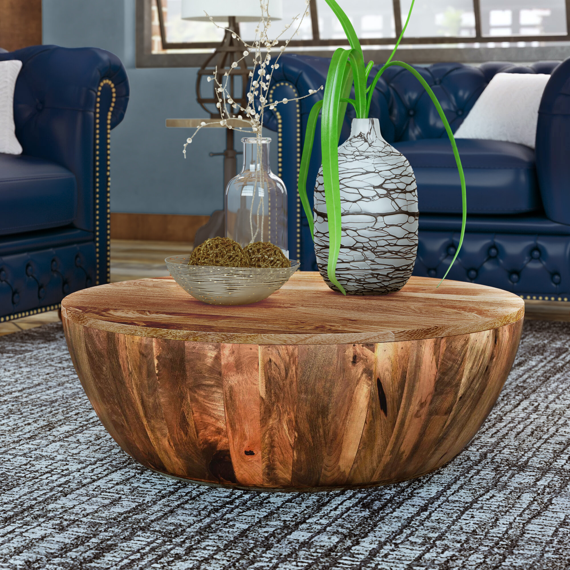 Union Rustic Beliveau Solid Wood Drum Coffee Table Reviews Wayfair You do not have to worry about its appearance since it offers a. the urban port