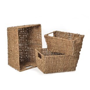 Review Silsbee Seagrass 3 Piece Basket Set
