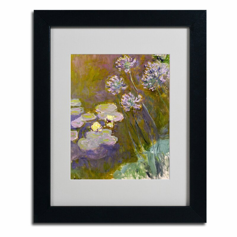 """Waterlilies and Agapanthus"" by Claude Monet Framed Painting Print"
