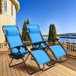 Kempst Zero Gravity Reclining Sun Lounger Set (Set of 2)