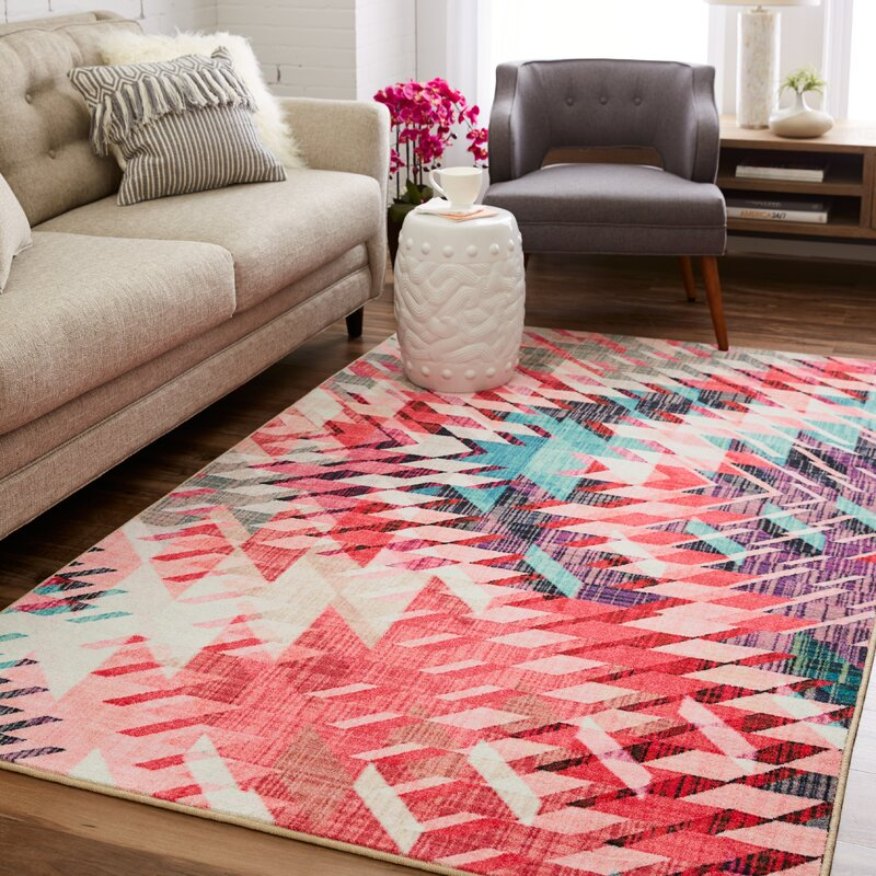 Latitude Run Venson Pink/Beige Area Rug & Reviews | Wayfair